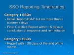 sso reporting timeframes
