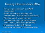 training elements from moa
