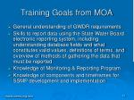 training goals from moa