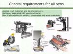 general requirements for all saws