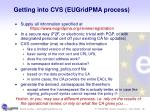 getting into cvs eugridpma process