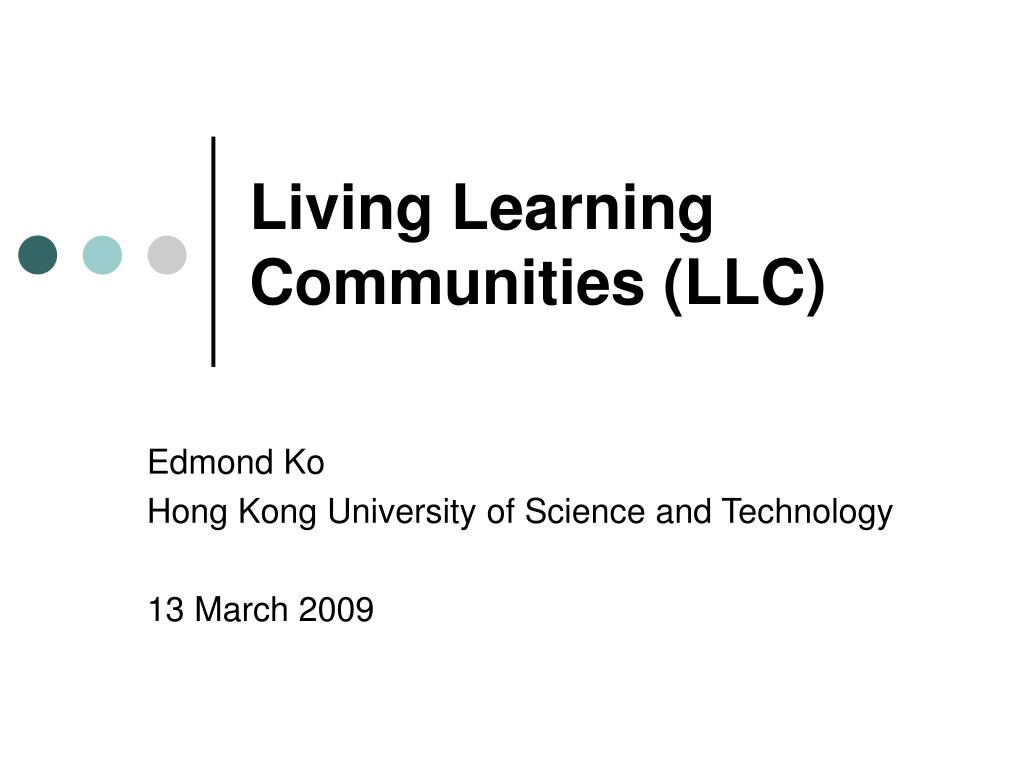 living learning communities llc l.