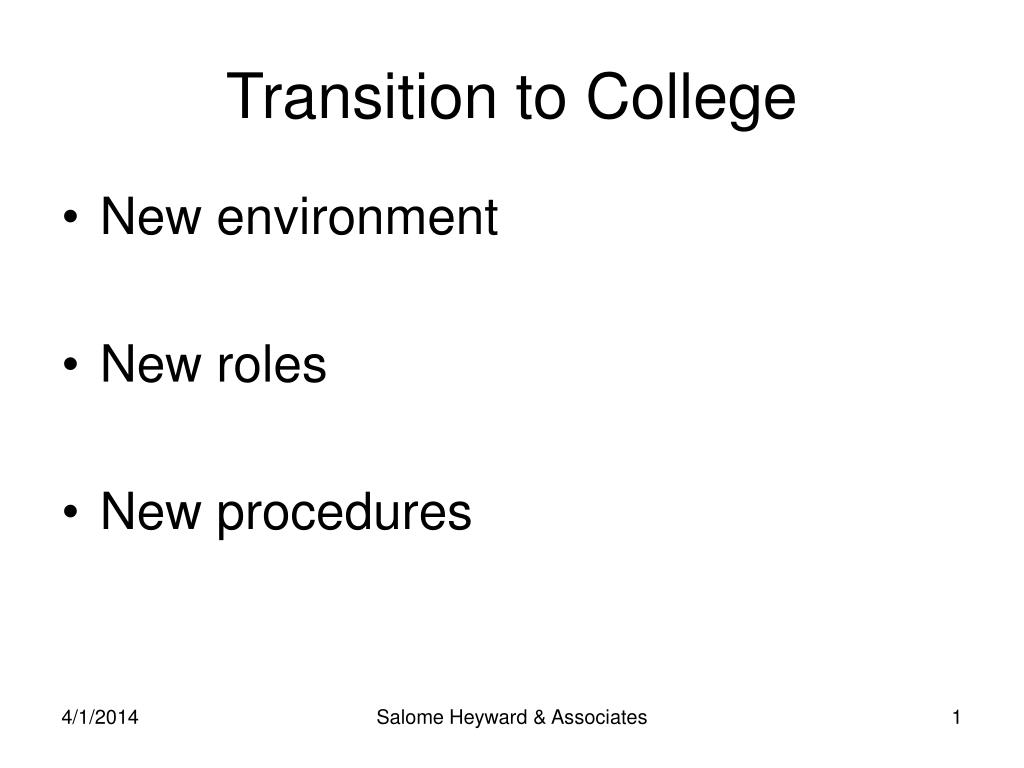 transition to college l.