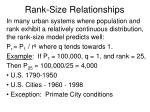 rank size relationships