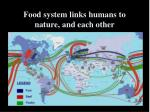 food system links humans to nature and each other