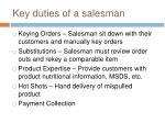 key duties of a salesman