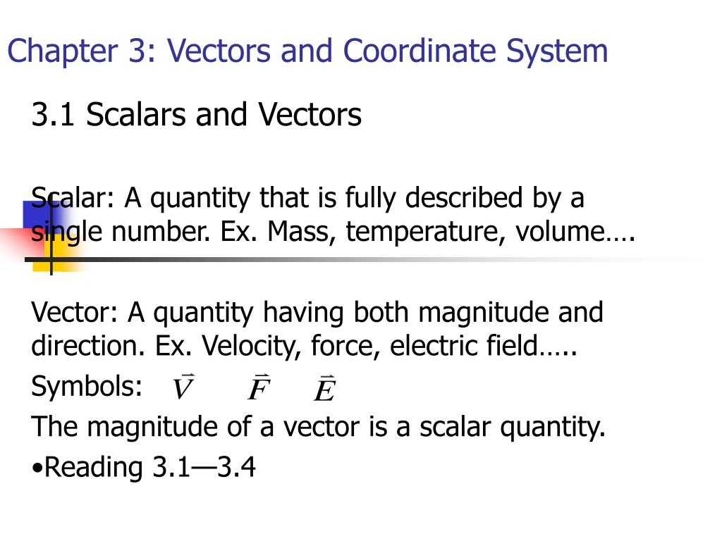 chapter 3 vectors and coordinate system l.