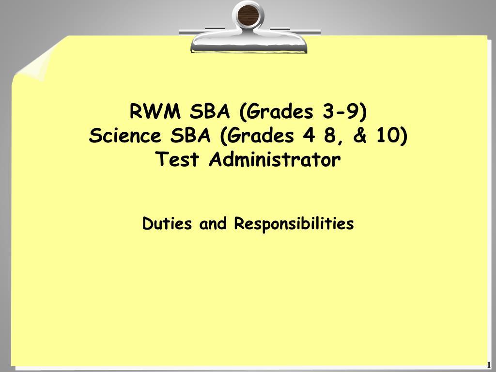 rwm sba grades 3 9 science sba grades 4 8 10 test administrator l.