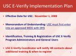 usc e verify implementation plan