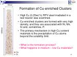 formation of cu enriched clusters