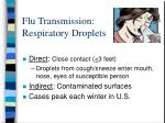 flu transmission respiratory droplets