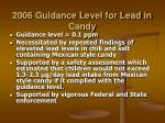 2006 guidance level for lead in candy