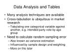 data analysis and tables
