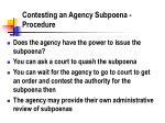 contesting an agency subpoena procedure