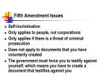 fifth amendment issues