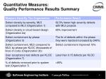 quantitative measures quality performance results summary