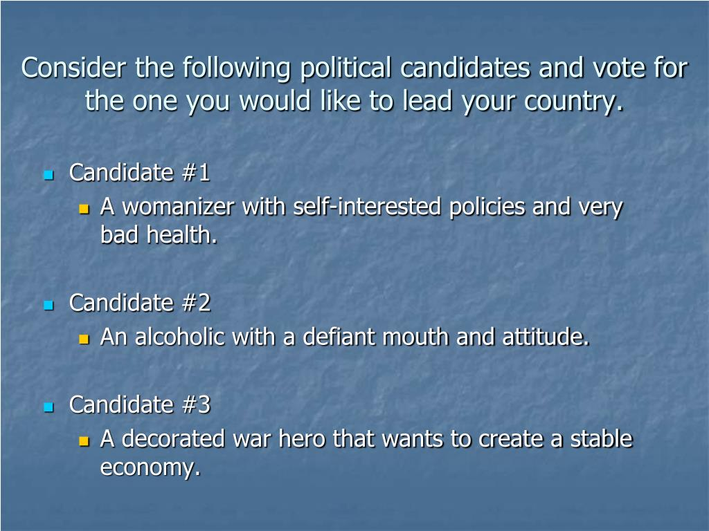 Consider the following political candidates and vote for the one you would like to lead your country.
