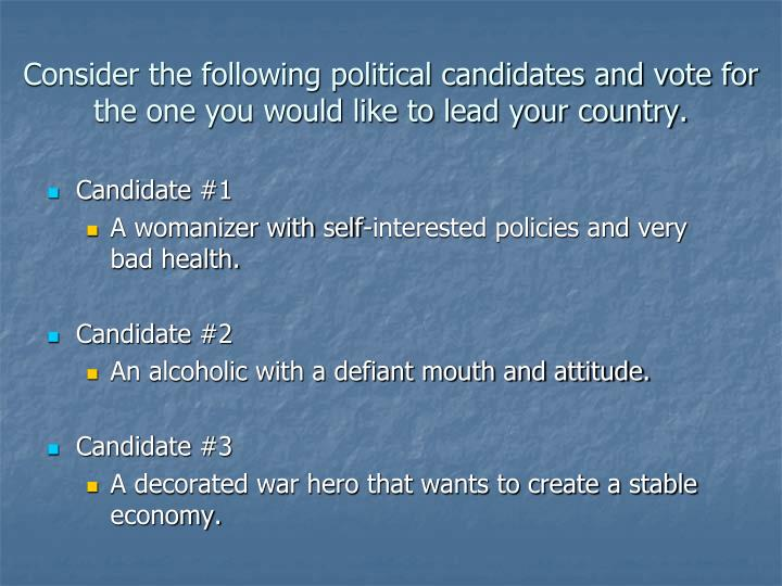 Consider the following political candidates and vote for the one you would like to lead your country...