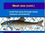 mesh size cont