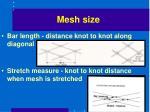 mesh size