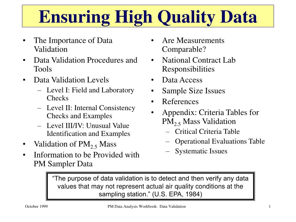 ensuring high quality data l.
