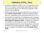 validation of pm 2 5 mass
