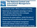 the national context and international management conclusion