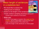 mean length of sentences in a statistics text
