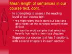 mean length of sentences in our course text cont
