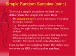 simple random samples cont