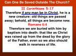 can one be saved outside the church14