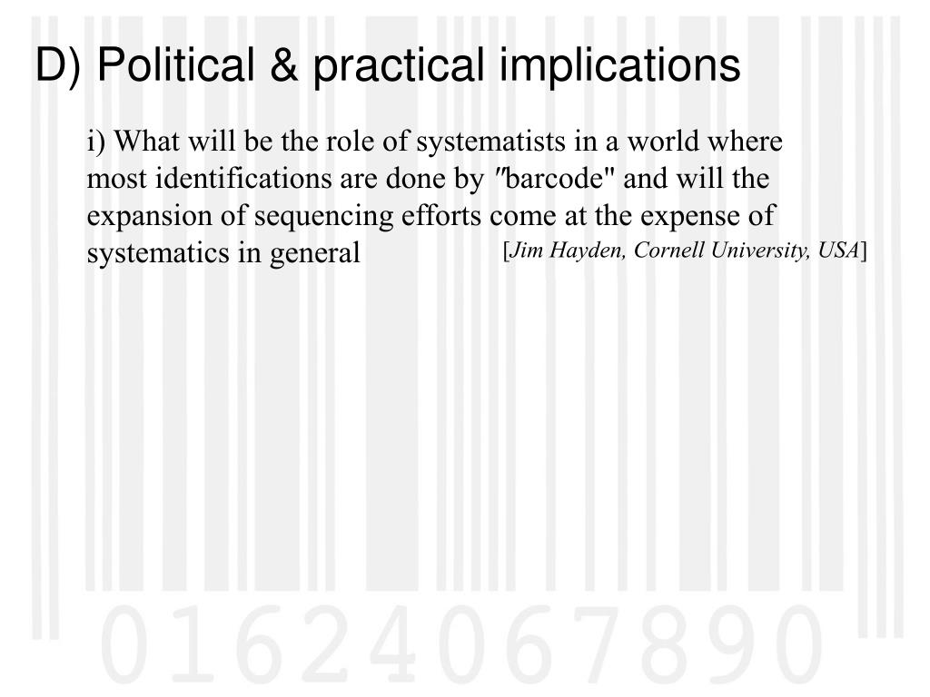 i) What will be the role of systematists in a world where most identifications are done by