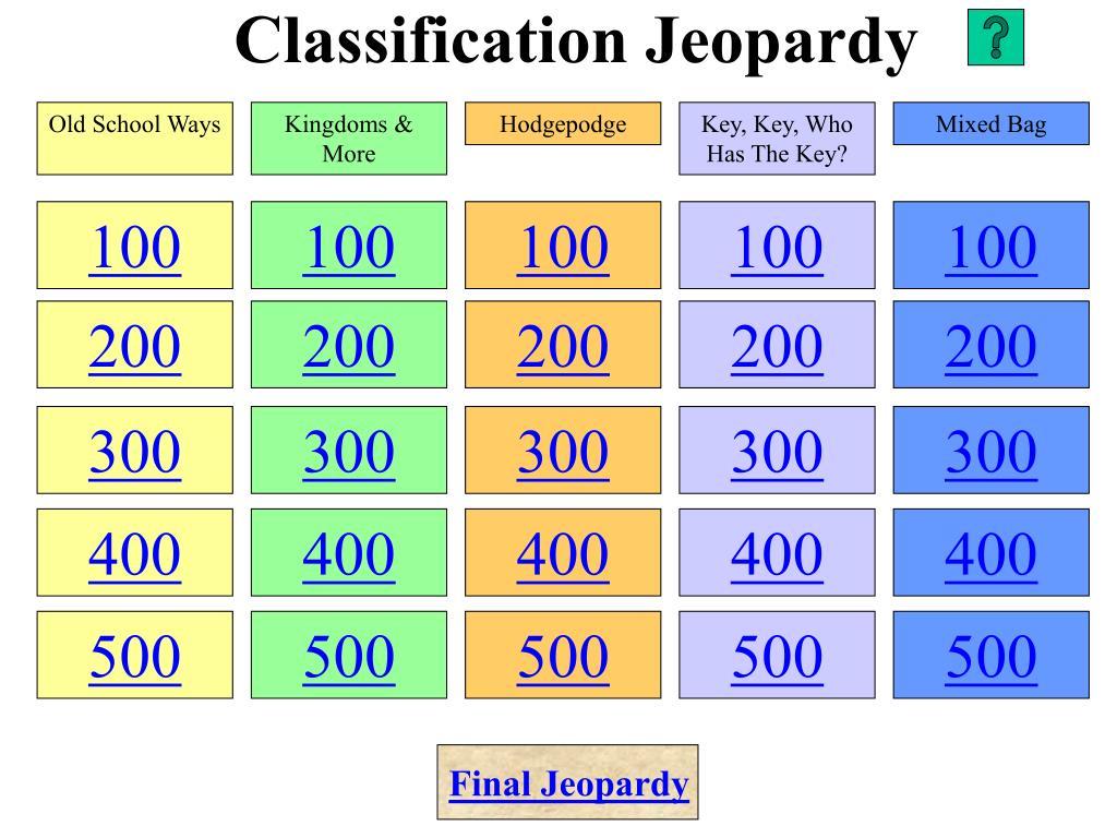 classification jeopardy l.