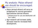 my analysis maize ethanol use should be encouraged