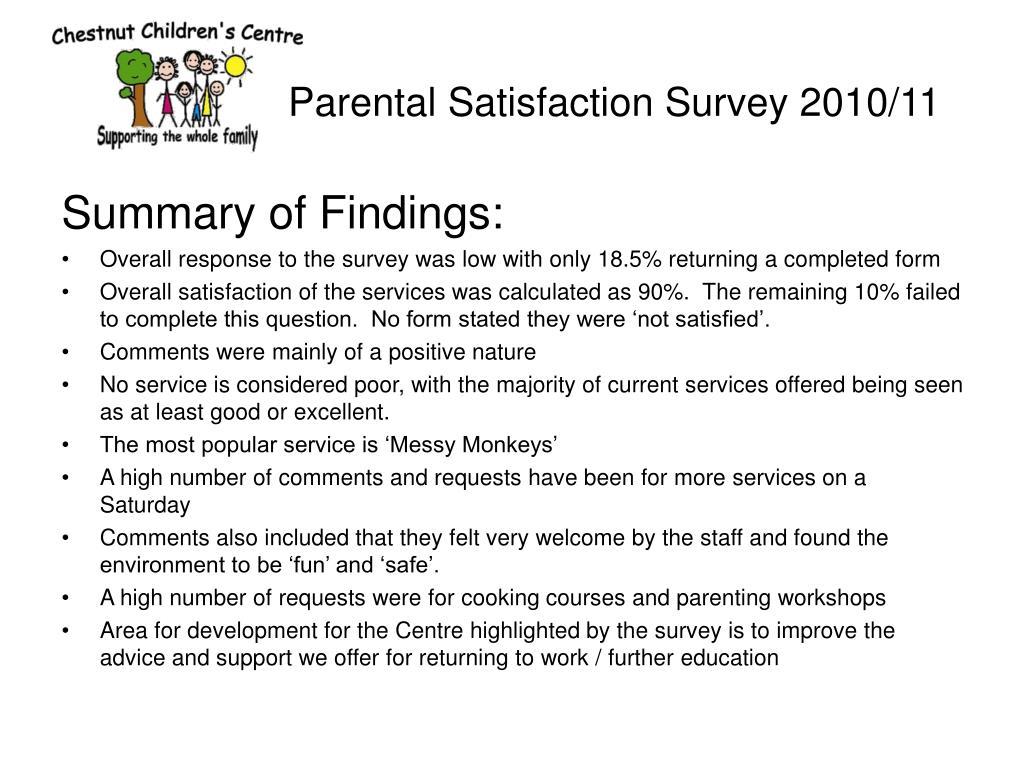 parental satisfaction survey 2010 11 l.