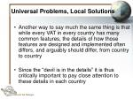 universal problems local solutions