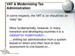 vat modernizing tax administration