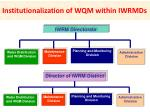 institutionalization of wqm within iwrmds