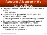 resource allocation in the united states