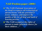 nad position paper 2000