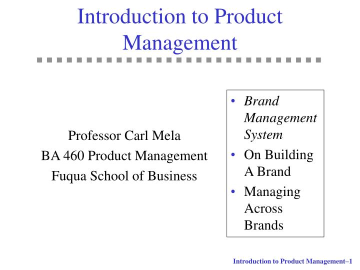 introduction to product management n.