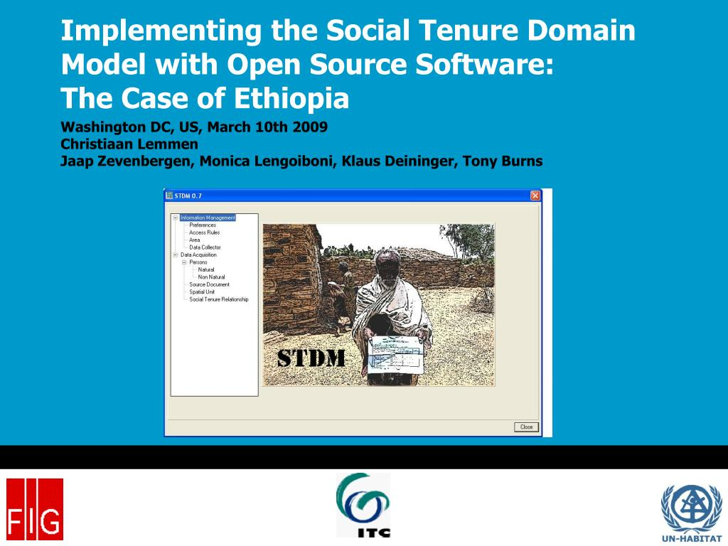implementing the social tenure domain model with open source software the case of ethiopia l.