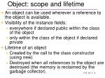 object scope and lifetime