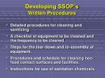developing ssop s written procedures