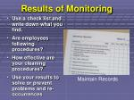 results of monitoring
