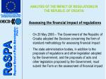 analysis of the impact of regulations in the republic of croatia