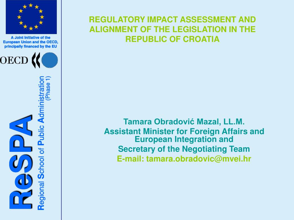regulatory impact assessment and alignment of the legislation in the republic of croatia l.