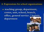 4 expressions for school organizations