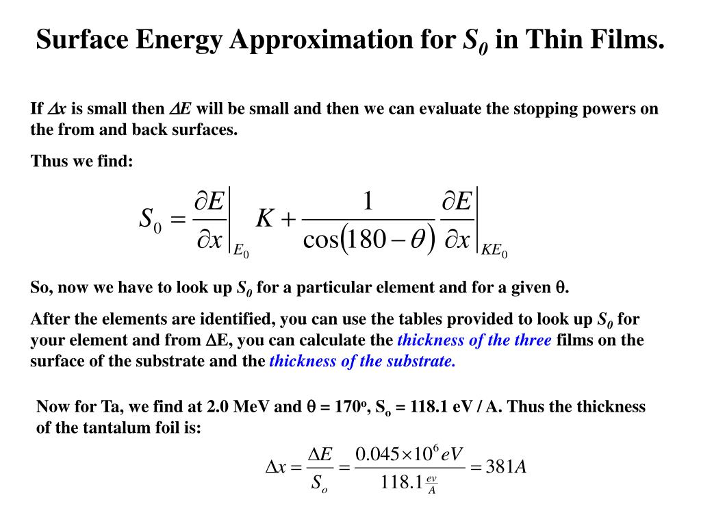Surface Energy Approximation for