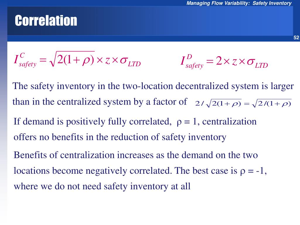 The safety inventory in the two-location decentralized system is larger than in the centralized system by a factor of